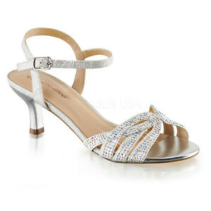 65e3ea7f2be5 Details about PLEASER Sexy Shoes Silver Shimmer Rhinestone Woven Evening Kitten  Heels Sandals