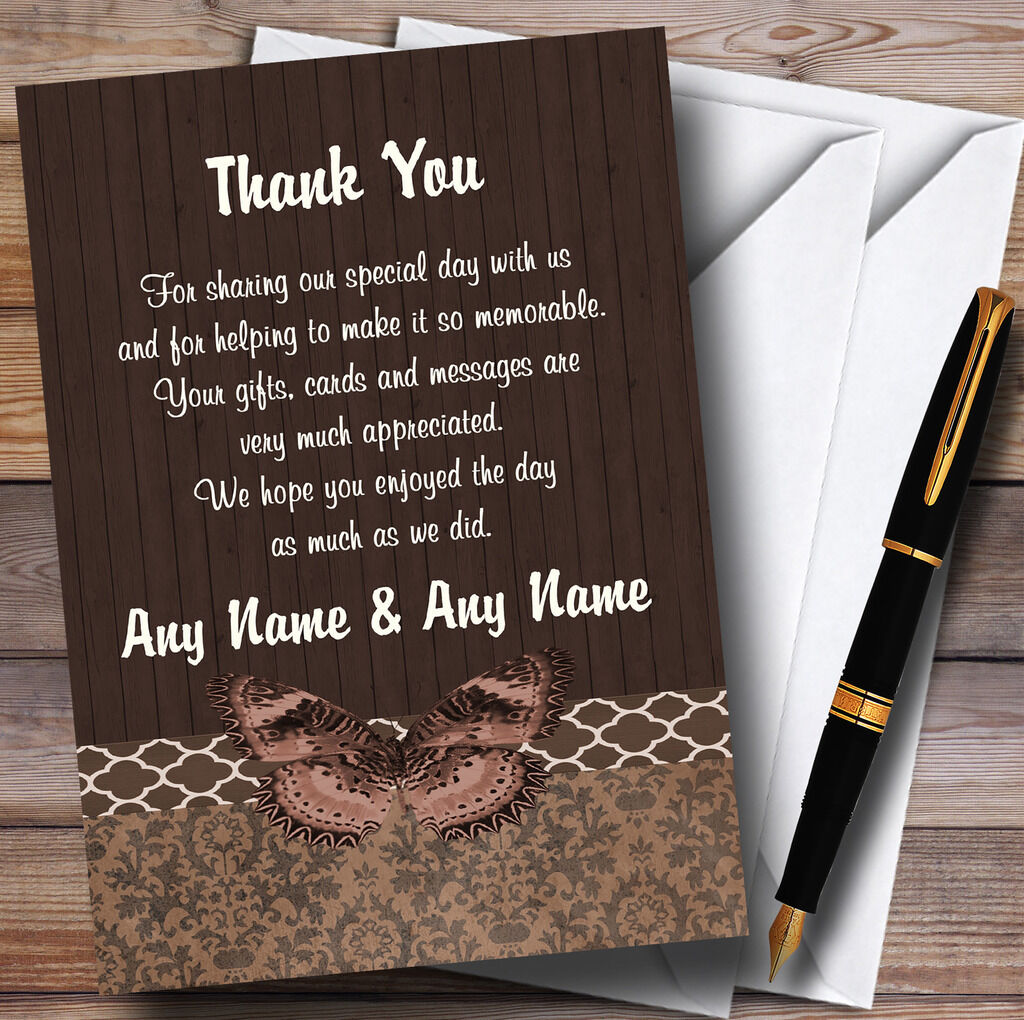 Rustic Vintage Wood Butterfly braun Personalised Wedding Thank You Cards