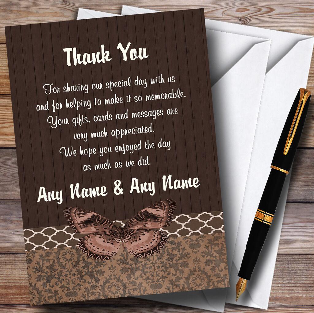 Papillon en bois vintage rustique marron mariage mariage marron Personnalisé Cartes RemercieHommes t f4aca9