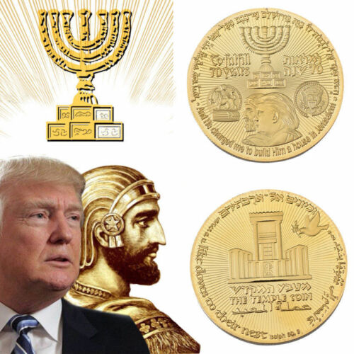 70 Years King Cyrus Donald Trump Jewish Temple Coin Gold Plated 2018 w//Case Gift