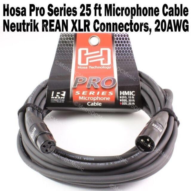 Hosa Pro Series 25 ft XLR Microphone Cable Neutrik REAN Connectors HMIC-25