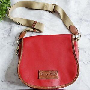 Dooney-amp-Bourke-Vintage-Red-Leather-Top-Flap-Adjustable-Crossbody-Saddle-Bag
