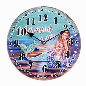 Image Is Loading Vintage Look Beautiful Mermaid Lounge Gl Wall Clock