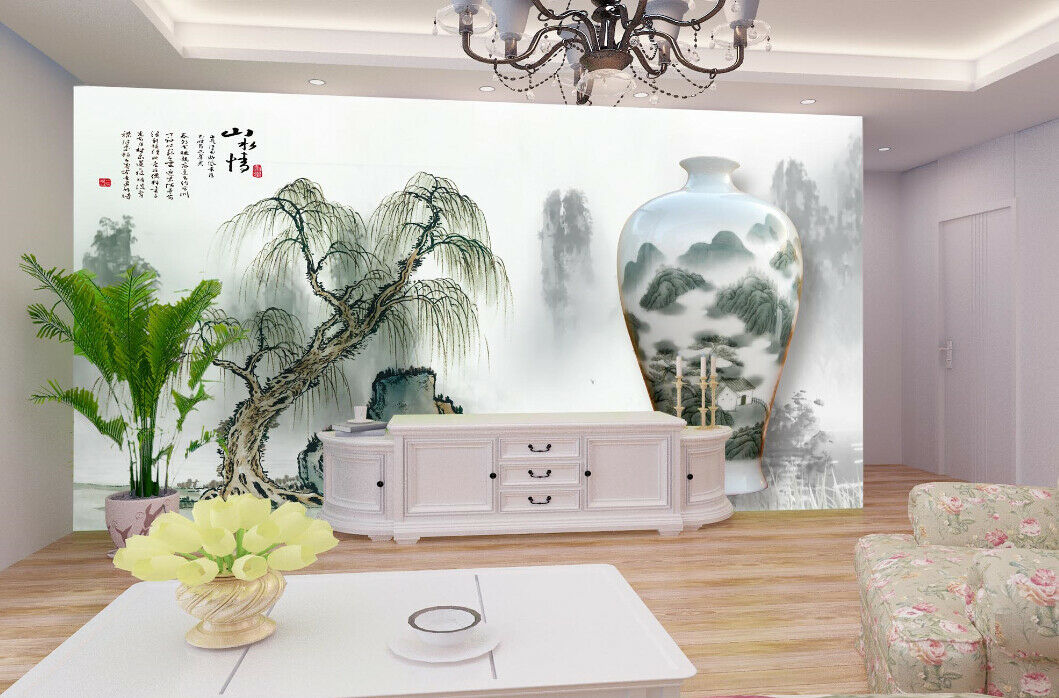 3D Vase Painting 98 Wallpaper Mural Paper Wall Print Wallpaper Murals UK Lemon