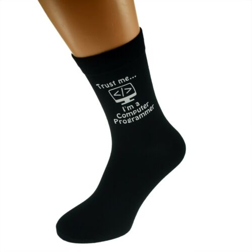 Trust me I/'m a Computer Programmer /& Computer Image Printed tMens Black Socks