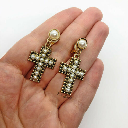 Antique Gold Pearl Cross Crucifix Drop Clip On Earrings Blogger UK Vintage Style