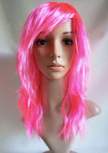 Pink Red Orange Blue Purple Green Yellow Halloween Costume Fancy Dress Party Wig
