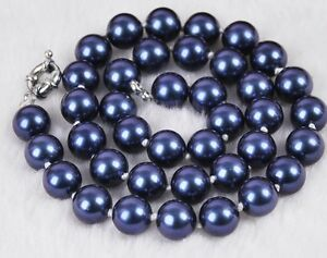 10mm-blau-Muschelkernperlen-Halskette-17-Zoll