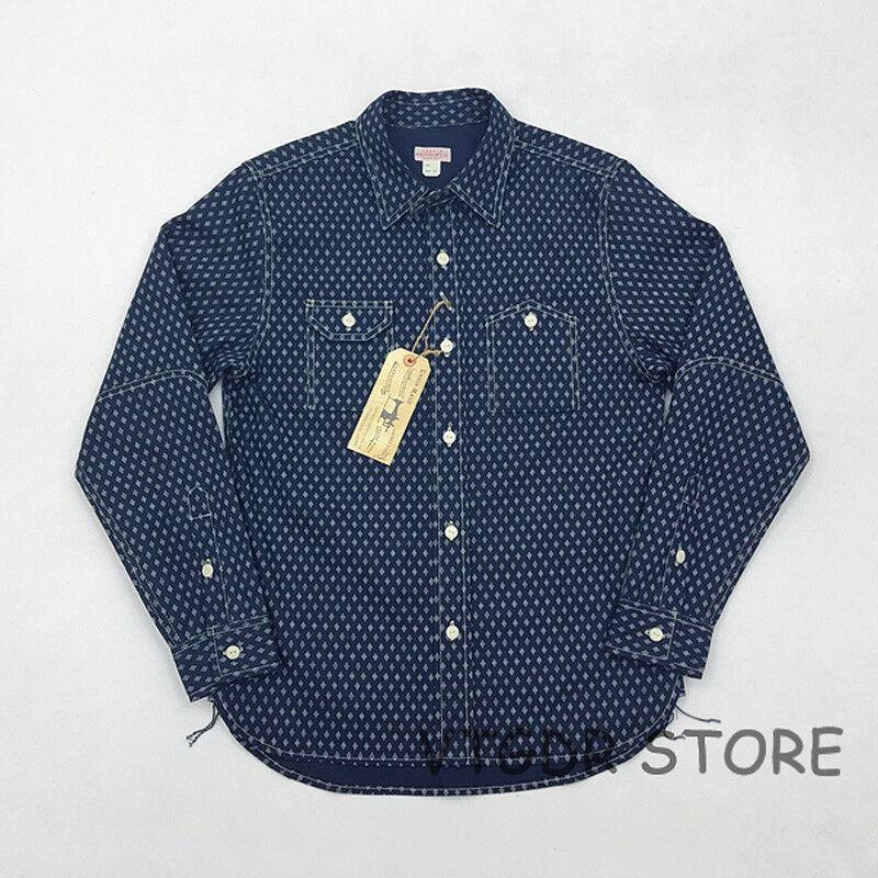 Bob Dong Wabash Indigo Work Shirt Vintage Men's Button-Down Long Sleeve Workwear