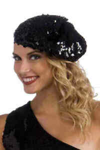 Beret-Ladies-Black-Stretch-Knit-Sequin-Multi-Character-Costume-Headpiece