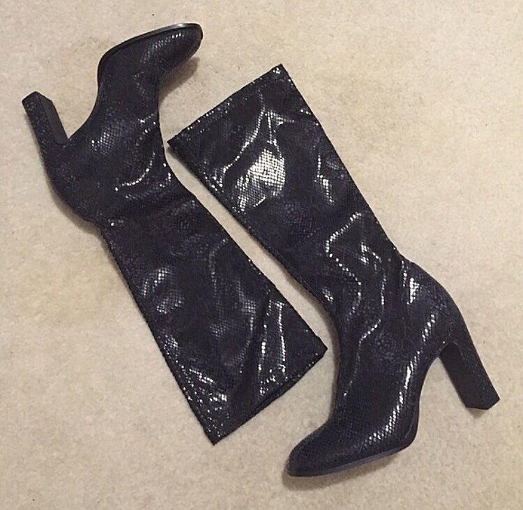 Steve Madden Reptile Metallic Knee High Heel Boot 9