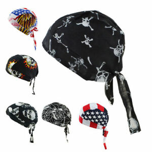 Cotton-Biker-Skull-Cap-Motorcycle-Bandana-Head-Wrap-Du-Doo-Do-Rag-Black-Hat-lot