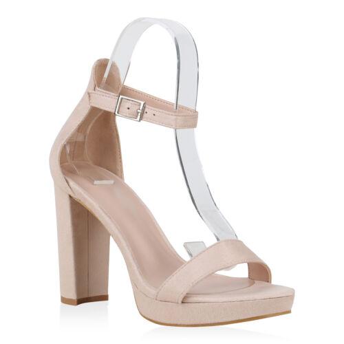 Damen Abiball Sandaletten High Heels Wildleder-Optik Party 830217 Schuhe