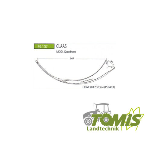 817363 = 855483 CLAAS Stahl Nadel für Claas Presse Quadrant Teilenr.