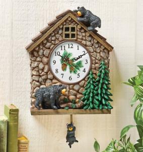 Wall-Clock-Black-Bear-Cabin-Analog-Swinging-Pendulum-Battery-Operated-12-75-034-H