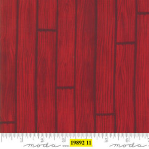 Christmas-MODA-Holiday-Lodge-100-cotton-fabric-by-the-yard-Woodgrain-look-Red