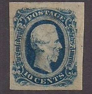 CSA #12 Mint some gum Keatinge & Ball print, Great Margins! Confederate States.