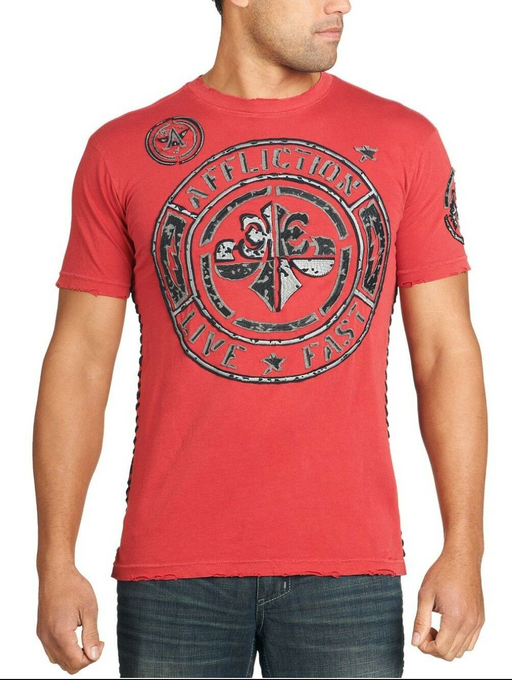 Affliction T-Shirt Stamp SS APPLIQUE TEE. NWT  FREE SHIPPING.CLEARANCE
