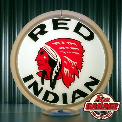 "Red Indian Gasoline - 13.5"" Gas Pump Globe -  Made by Pogo's Garage"