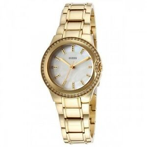 7858d2228f3 NEW-GUESS GOLD TONE CRYSTAL WHITE MOP DIAL S STEEL SMALL WATCH ...