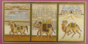Hand-Painted-Miniature-India-Rajasthan-Three-City-Fine-Painting-Udaipur-Jaipur