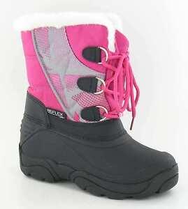 Reflex Mädchen rosa/schwarzer Schnürschuh Fleecefutter Schnee Stiefel Winter