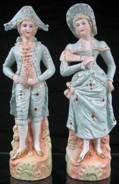 "Vintage Antique German Bisque Porcelain Figurines Lady & Man about 9"" Tall"