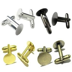Men-039-s-DIY-Cufflinks-Accessories-Silver-Gold-Bronze-Round-Blank-Settings-10pcs
