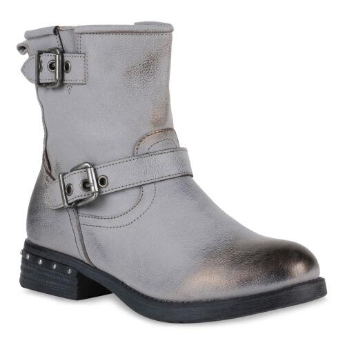 Damen Stiefeletten Schuhe Stiefel Biker Boots Nieten Schnallen 819438 Top