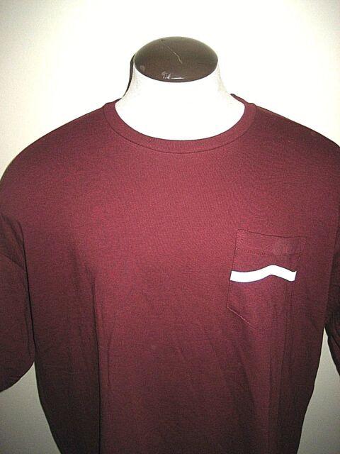 53f07e7ae2e74b Vans Shoes Mens SS Side Stripe Pocket T Shirt Maroon White XXL Free Ship NWT