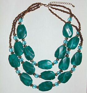 Triple-strand-layered-look-swirly-teal-blue-green-acrylic-beads-fashion-necklace