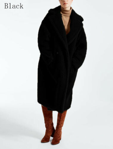 Winter Luxury Womens Faux Fur Teddy Bear Feel Alpaca and Wool Mid Long Warm Coat