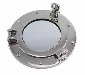 "Porthole Mirror 8"" Nickel Finish over Brass Wall Mount ..."