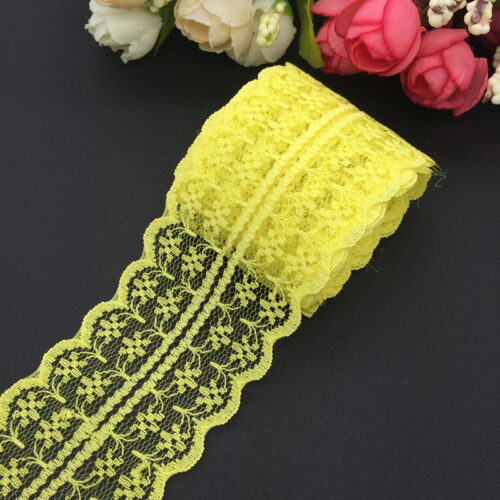 10yds 45mm Yellow Handicrafts Embroidered Net Lace Trim Ribbon Wedding Crafts