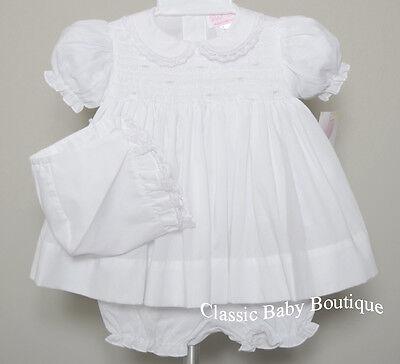 NWT Petit Ami White Smocked Lace 3PC Dress Newborn Reborn Baby Girls Bonnet