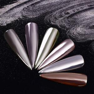 0-5g-Spiegel-Nagel-Glitter-Powder-Silber-Schimmer-Nail-Art-Chrom-Pigment-Dust