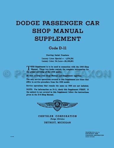 1939 Dodge Riparazione Auto Manuale Di Negozio Integratore 39 D11 Lusso Liner