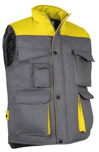 Gilet de travail sans manches Thunder bicolore gris jaune en S M L XL XXL XXXL