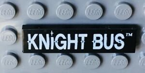 NEW Lego Minifig Black KNIGHT BUS TILE 1x4 Harry Potter White Letter Sign 4755