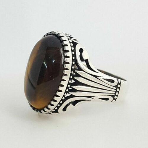 Handmade 925k Sterling Silver Natural Tiger Eye Stone Elegant Men/'s Ring