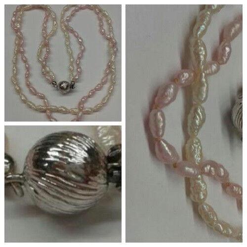 Perlenkette Süßwasserperlen 2 reihig perlmutt- und pinkfarben L 42 cm