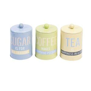 Set-of-3-for-Tea-Coffee-Sugar-Food-Box-Storage-Jar-Box-Tinplate-New