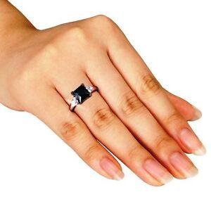 Princess-Black-Diamond-Alternatives-Engagement-Promise-Ring-White-14k-over-925