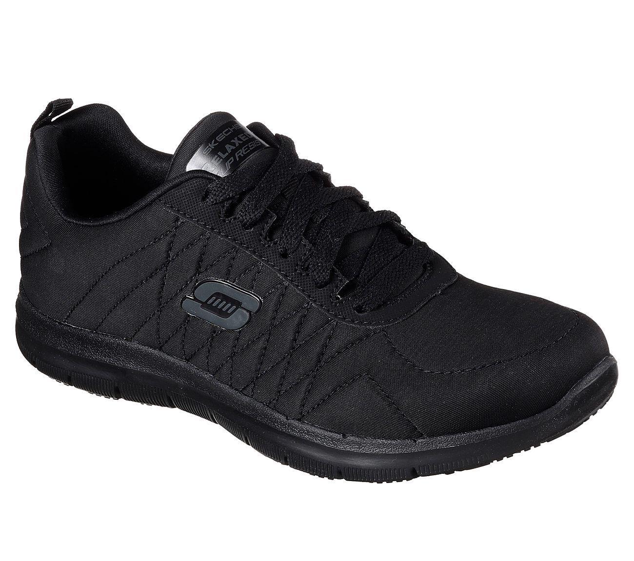 77204 mit Breitem Schwarz Skechers Schuhe Damen Memory Foam Works Rutschfest Eh