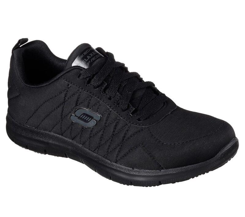 77204 W Wide Black Skechers Shoes Women Memory Foam Work Slip Resistant Eh Safe
