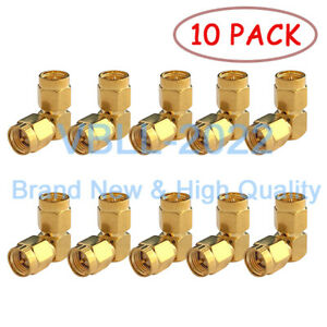 10X-SMA-Plug-to-SMA-Jack-Male-Right-Angle-RF-Coax-Adapter-Connector-In-Series
