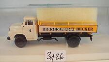 Brekina 1/87 MAN 635 LKW Pritsche Bierbrauerei Becker Reinhardt Modell OVP #3126