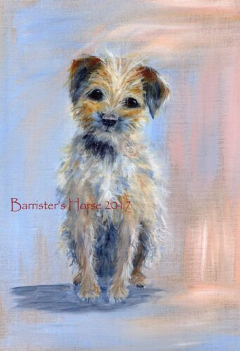 BORDER TERRIER PAINTING ACRYLIC FINE ART//GICLEE PRINT WALL ART DOG PICTURE