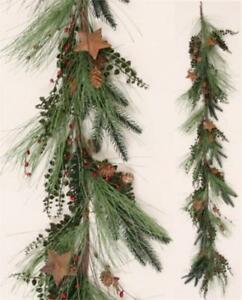Details About New Primitive Rustic Christmas Rusty Star Red Berry Garland Vine Swag 6 Ft