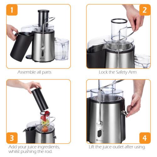 PureMate 1000W NaturoPure Juicer Machine Whole Fruit//Vegetable Juice Maker